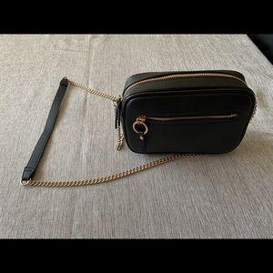 H&M camera bag black leather
